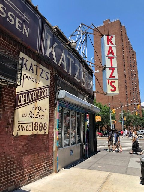 Katz's sign hanging diagonally over the entrance on the corner