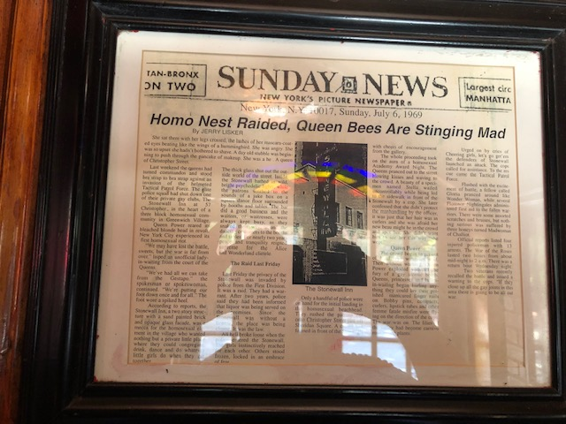 Headline in a paper called the Sunday News: Homo Nst Raided, Queen Bees Are Stinging Mad