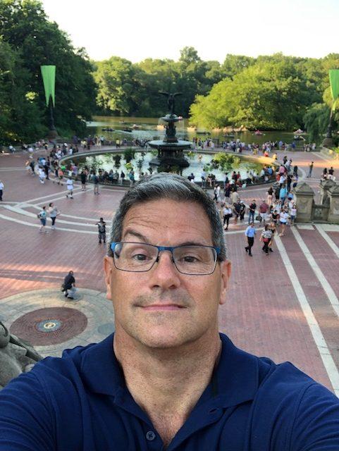Selfie at Bethesda Founain with raised eyebrow