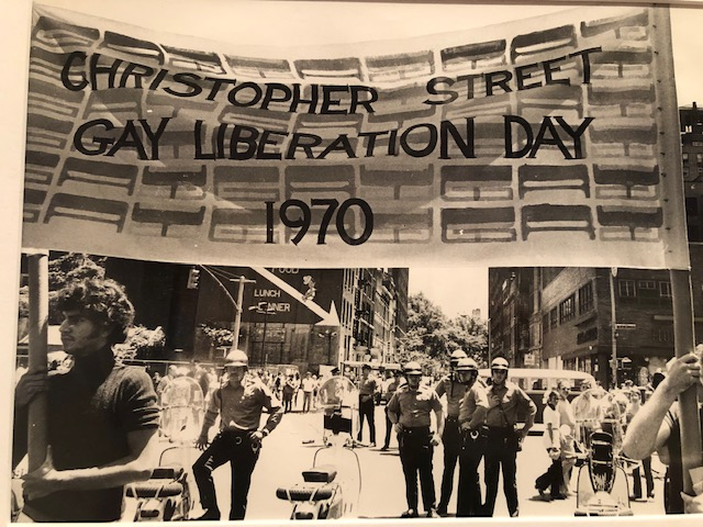 Sign being carried during an early Pride event: Christopher Street Gay Liberation Day, 1970.