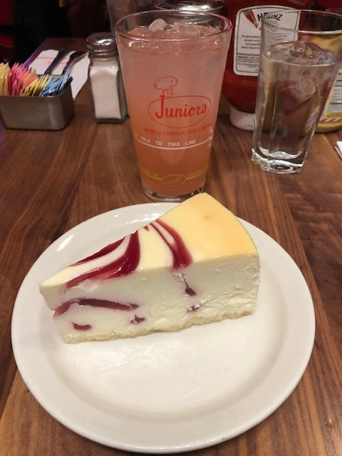 Raspberry swirl cheesecake and pink lemonade from Junior's
