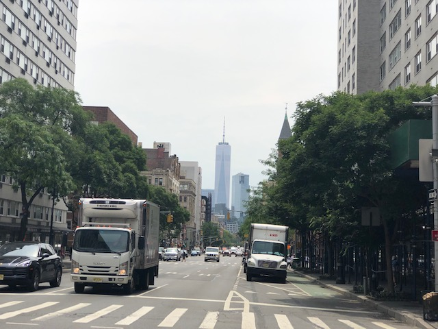 World Trade Center in the background of an intersection