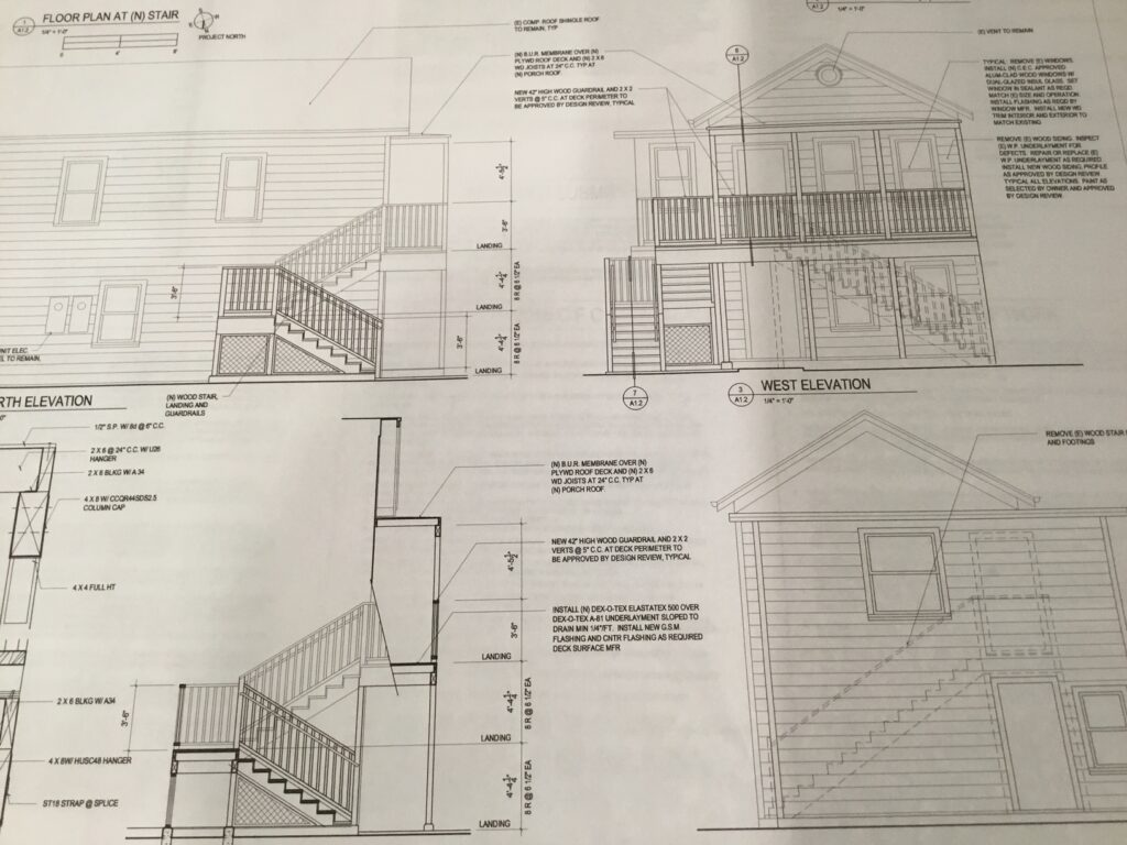 drawings of new front porch with stairs on the side